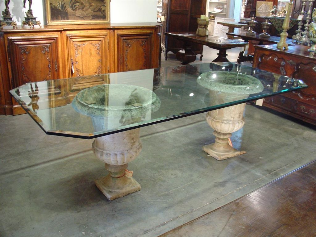 beveled glass table top on antique french stone urns BGEALZG
