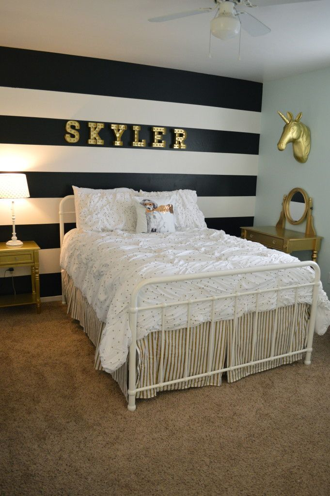 black and white bedroom ideas tween girl room makeover. beautiful gold accents, unicorns, bold black u0026 FKQPZMU
