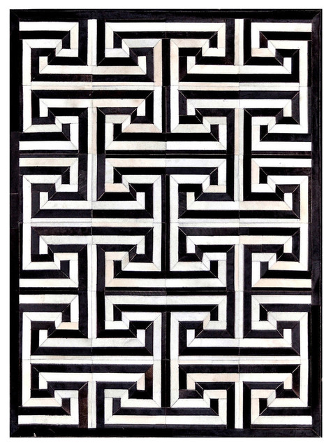 black and white rug 4u0027x6u0027 madisons maze pattern black and white cowhide area rug  contemporary-area DSGYGFM