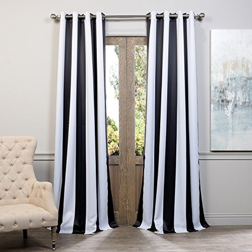 black and white striped curtains half price drapes boch-kc43-84-gr grommet blackout curtain, awning black u0026 white WNXOUWD