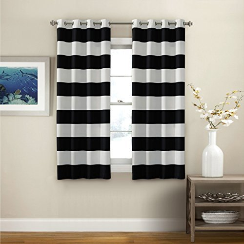 black and white striped curtains turquoize nautical blackout curtains(2 panels), room darkning, grommet top,  light blocking ALZKKRS