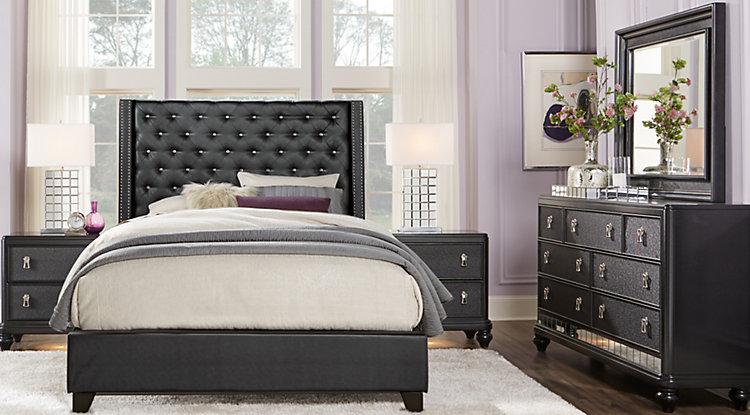 black bedroom sets sofia vergara paris black 5 pc queen upholstered bedroom KWDNLZT