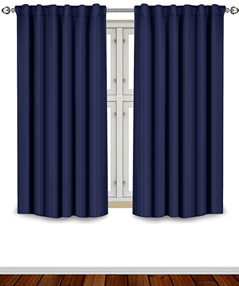 blackout room darkening curtains window panel drapes - navy 2 panel set 52 EKUTYFL