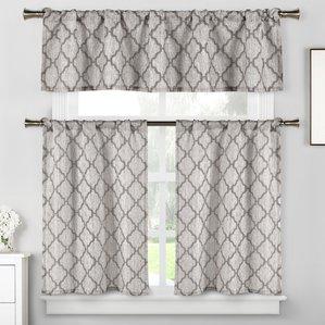 blocker 3 piece kitchen curtain set AOGEUDR