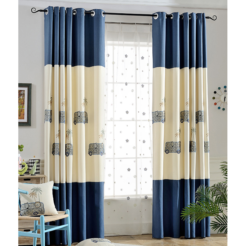 blue and beige patterned embroidery poly/cotton blend boys curtains JYYTBZW