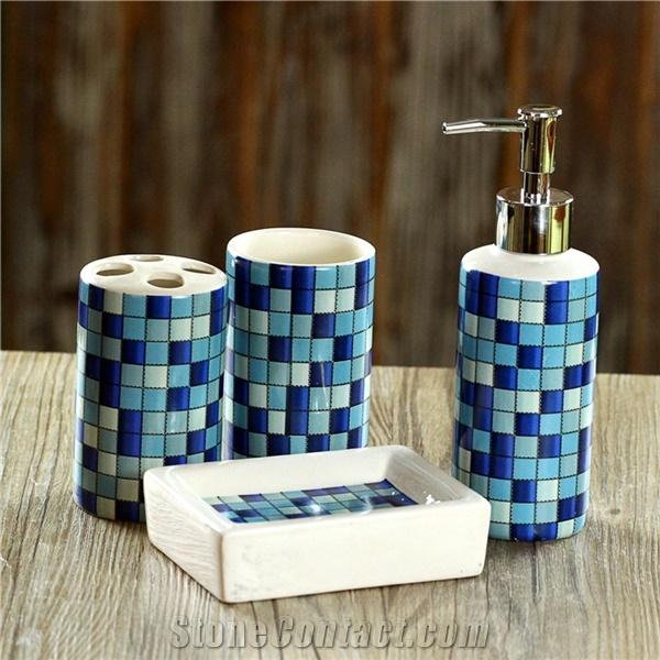 blue bathroom accessories blue glass mosaic bath accessories/sets VINGPPU