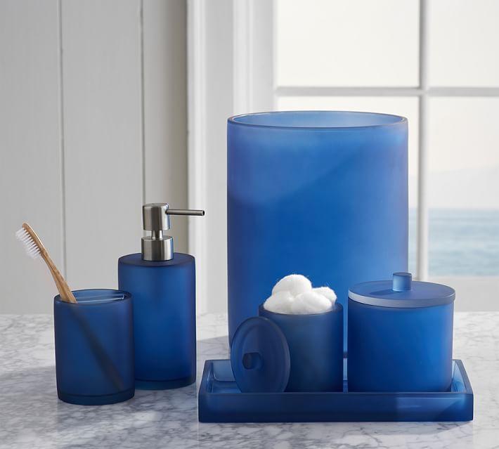 blue bathroom accessories coastal bath accessories ocean bathroom seafoam green tile seahorse sea  glasssea glass IOXXOPI