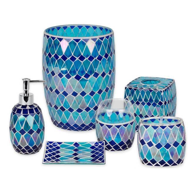 blue bathroom accessories covered in beautiful mosaic glass the aquarius bath ensemble brings the fa BOYOTEM