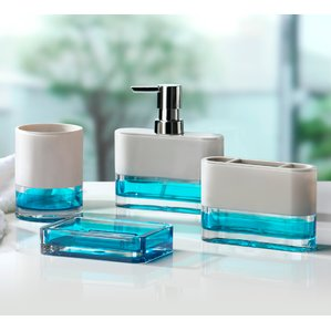 blue bathroom accessories float 4-piece bathroom accessory set CCRIEVD
