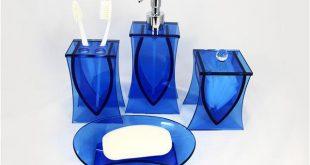 blue bathroom accessories liang thing, ocean blue glass 4-piece bath set / bath / bathroom accessories IXDBFXG