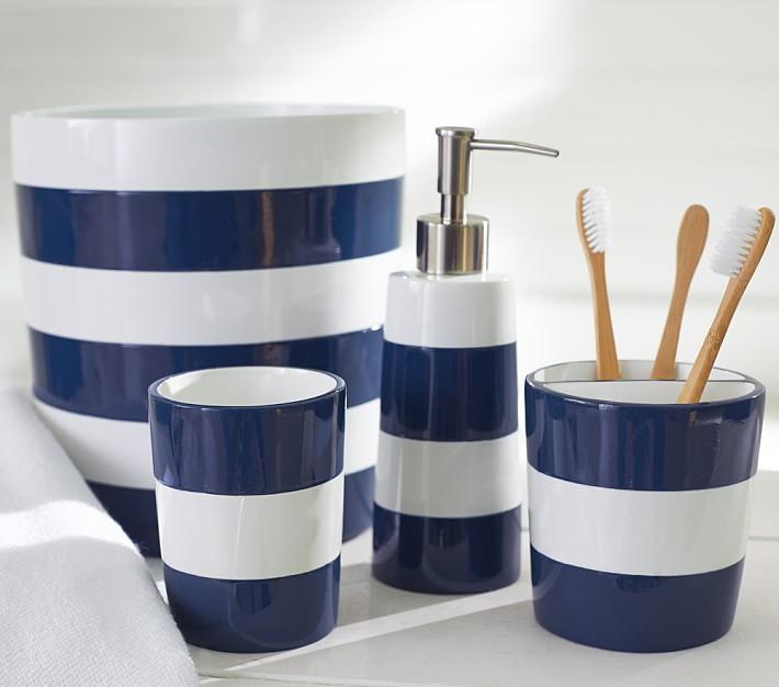 blue bathroom accessories navy stripe bath accessories | pottery barn kids AJKARIS