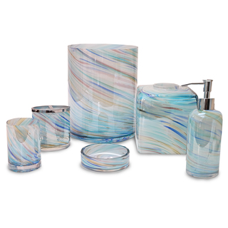 blue bathroom accessories veratex blue horizon multi-color glass bath accessories collection EOCZLHM