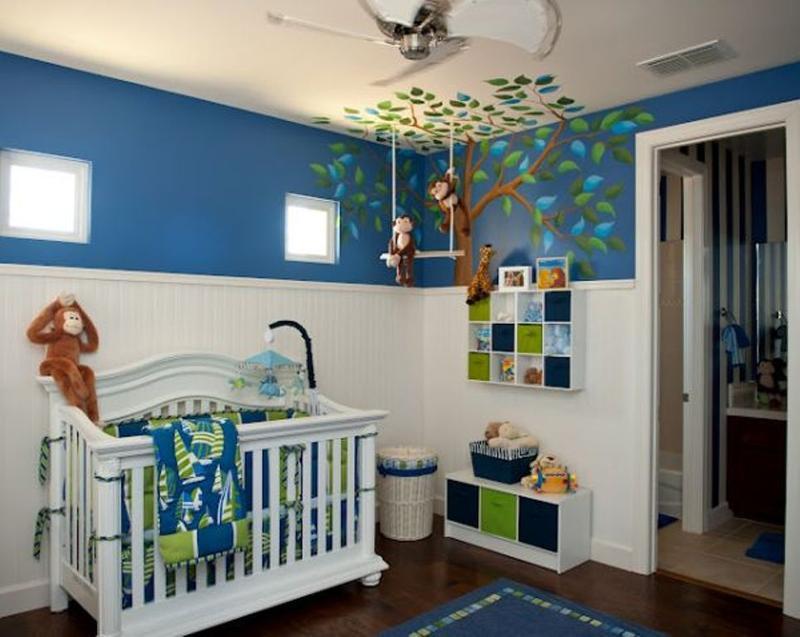 boy nursery ideas monkey themed nursery SZAXCRE