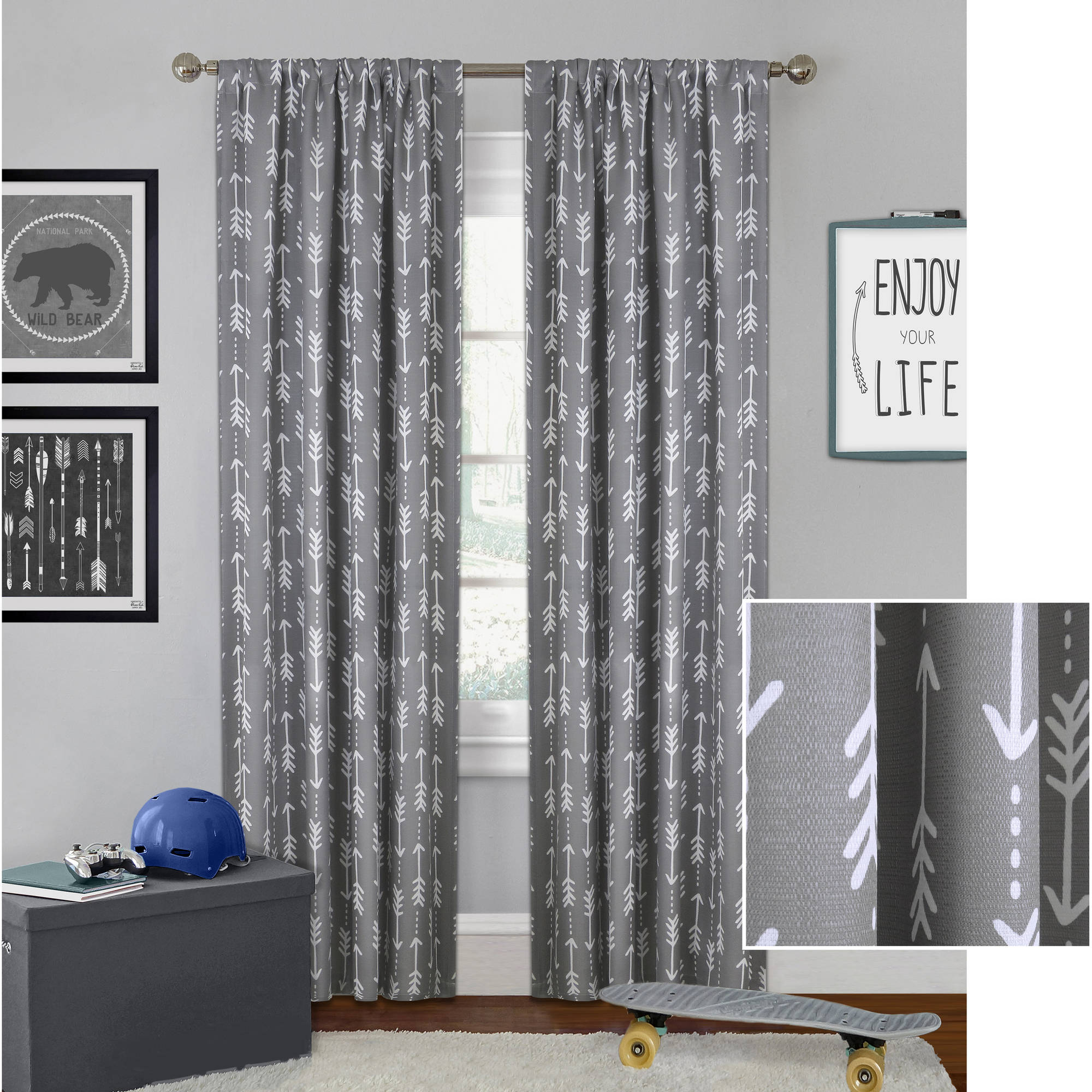 boys curtains better homes and gardens arrows boys bedroom curtain panel XEVGKHB