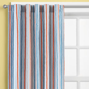 boys curtains: boys multi colored striped curtain panels - 63 construction  curtain JQMRDTU