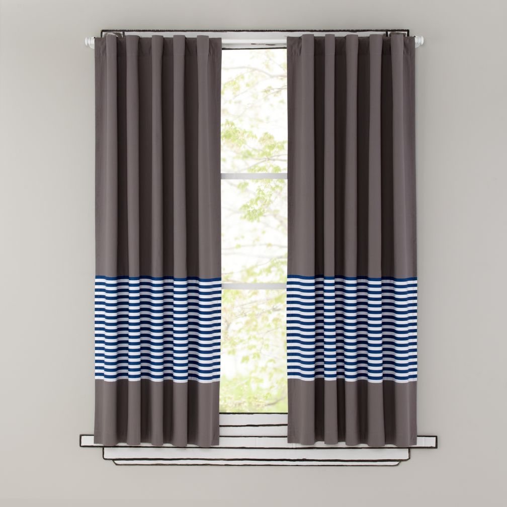 boys curtains kids curtains: blue stripe grey window curtains | the land of nod XMKSULD