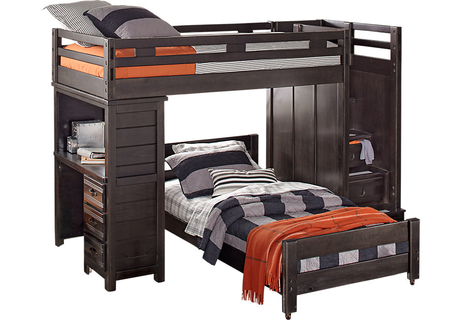 bunk beds creekside charcoal twin twin step bunk bed with desk - beds colors JTTRIGL