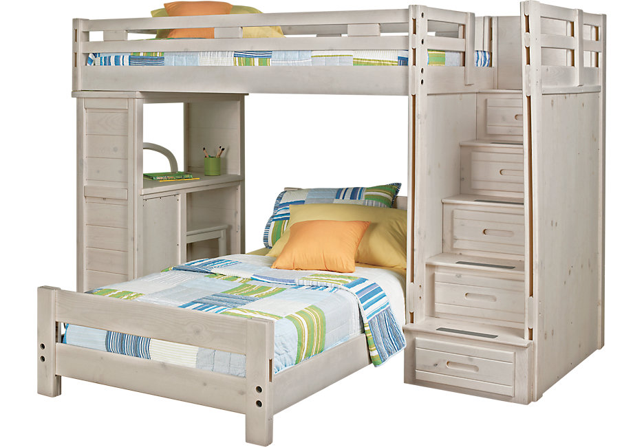 bunk beds creekside stone wash twin twin step bunk bed with desk - beds FQMOPRD