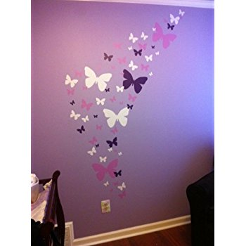 butterfly wall decor create-a-mural : butterfly wall decals- lavender, lilac u0026 white beautiful ZBVMLIP