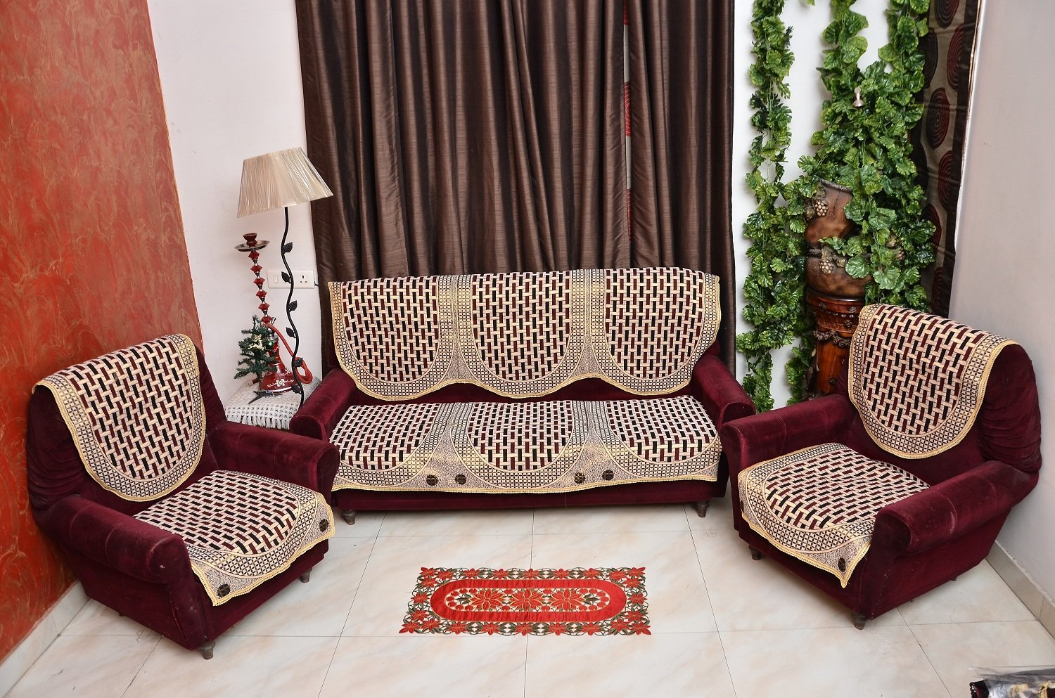 buy rshp 5 seater maroon coffee cotton sofa cover online at low prices VBDFWEM