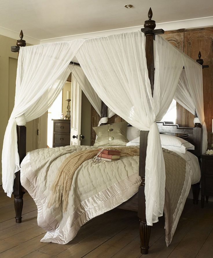 Canopy Bed Curtains Wooden With White Yvgrewb