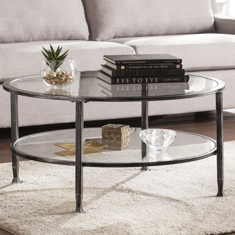casas metal and glass round coffee table IFFEQBL