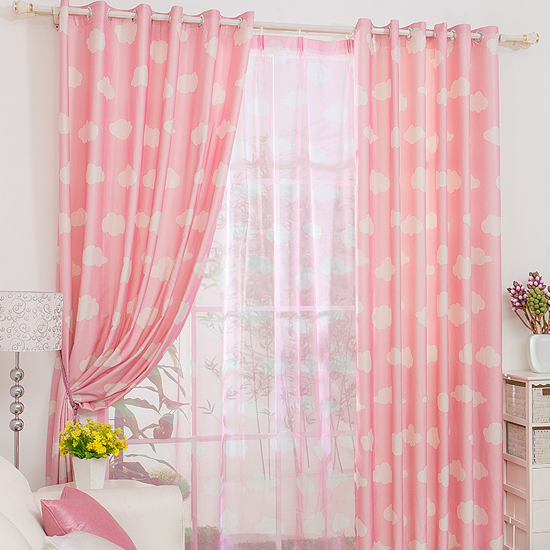 casual clouds patterned good girls pink curtains FELSOHX