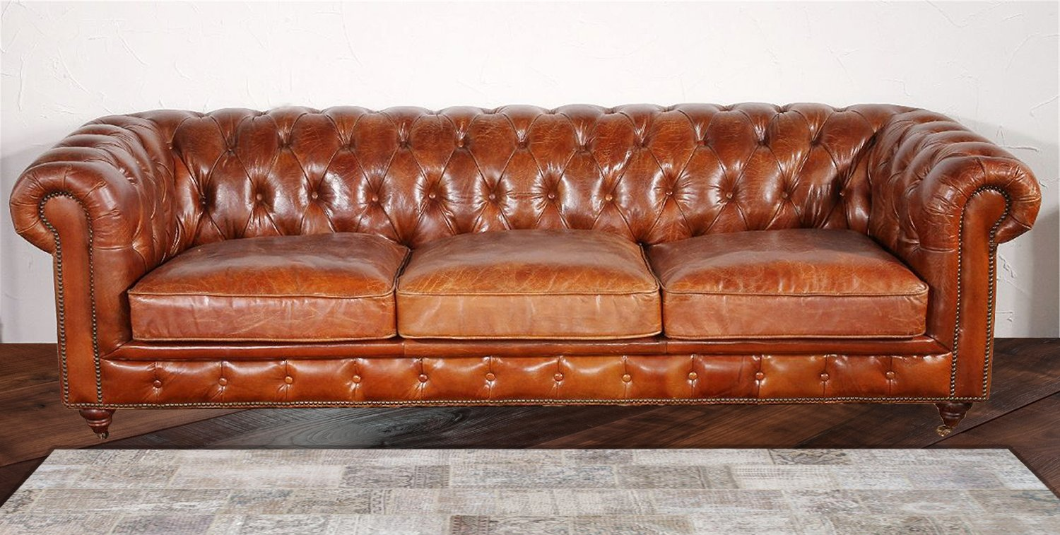 chesterfield furniture chester bay tufted genuine leather chesterfield sofa YMNORYI