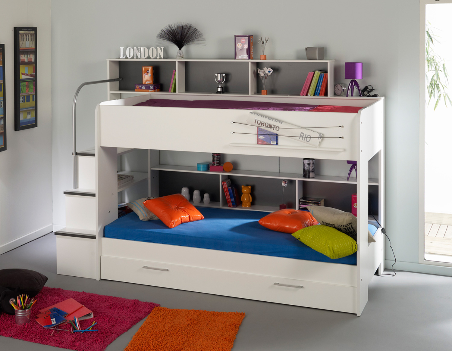 childrens bunk beds white bunk beds for kids with storage area KLDPZKE