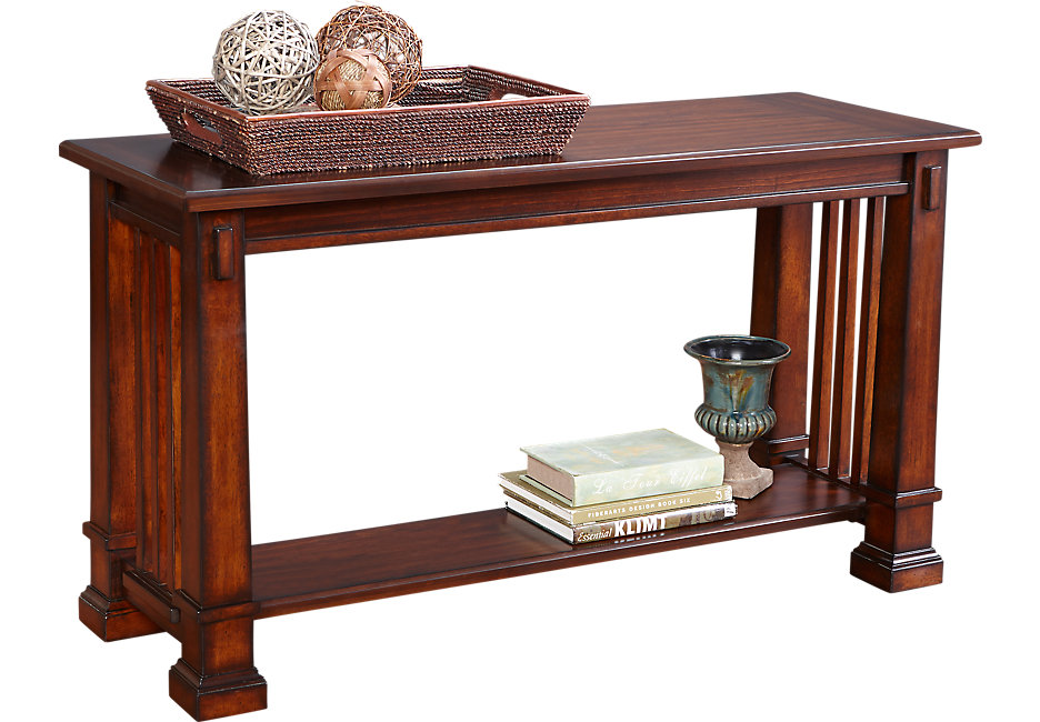 clairfield tobacco sofa table PSSQNJM