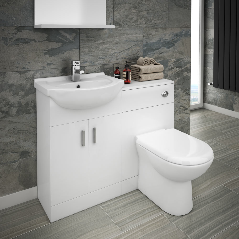 cloakroom suites cove vanity unit cloakroom suite + basin mixer tap (w1050 x d300mm) medium NCYOHUM