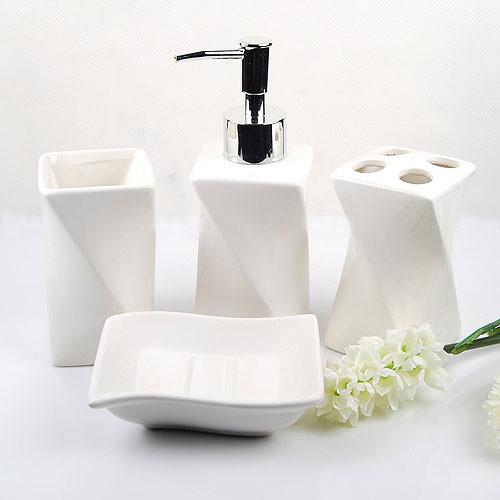 contemporary bathroom accessories elegant white ceramic bathroom accessory 4piece set contemporary-bathroom ILAKDOM