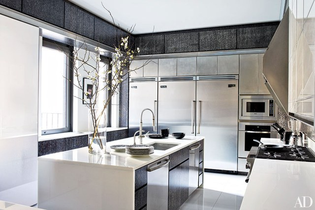 contemporary kitchens the kitchen in a floor-through manhattan apartment is appointed with a  range, VWUUGTX