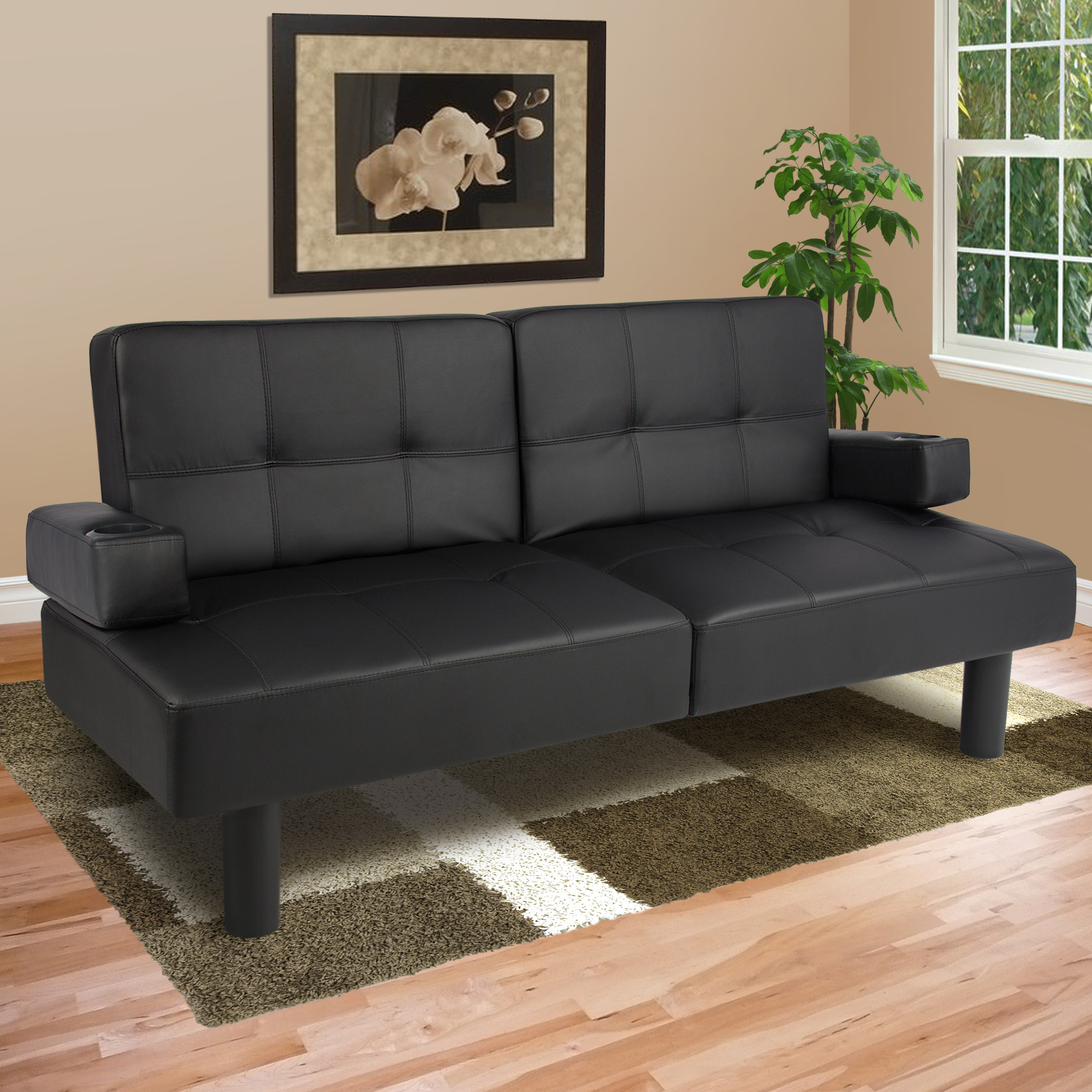 convertible sofa bed braxton leatherette sofa bed, brown - walmart.com EOEZQAZ