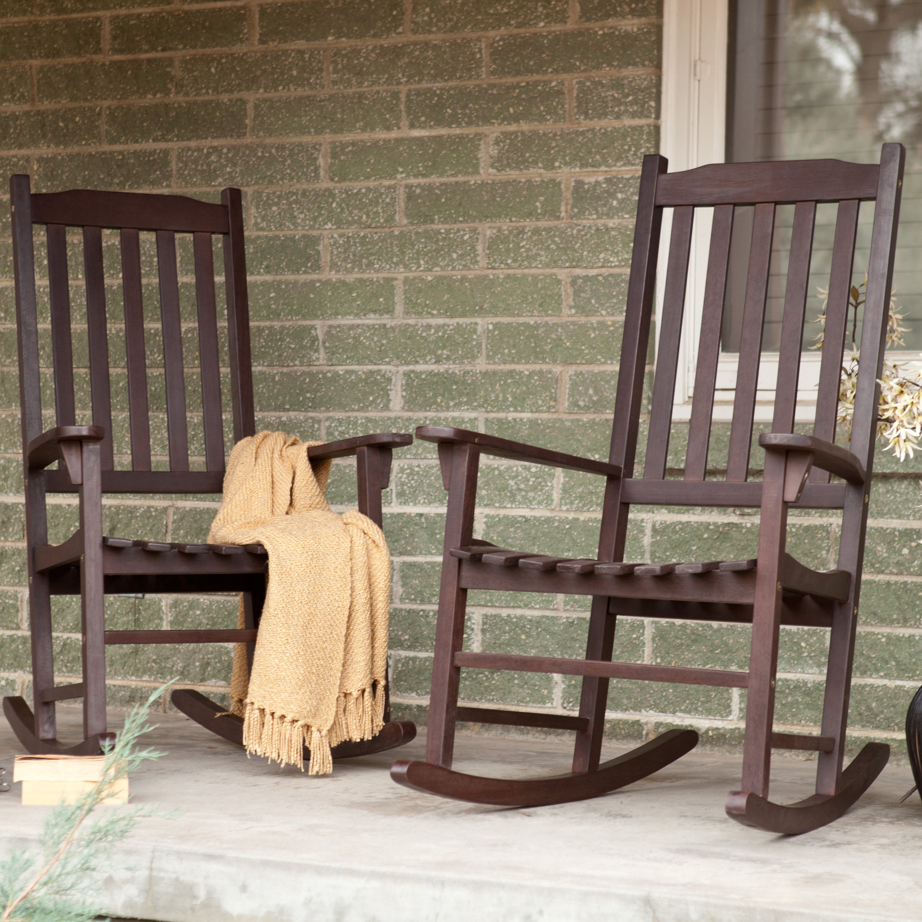 coral coast indoor/outdoor mission slat rocking chairs - dark brown - set JDFDTPU