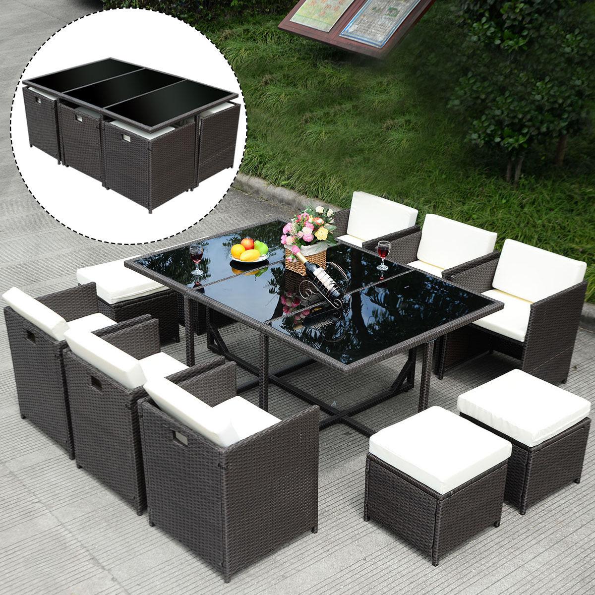 costway 11 pcs outdoor patio dining set metal rattan wicker furniture  garden RTPVMDK