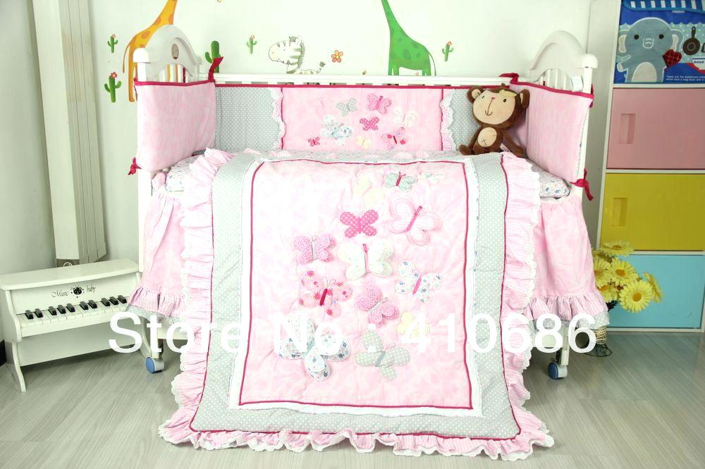 cot bedding sets baby bed bedding patterns baby crib linen sets new embroidered 3d pink DWGOQOH