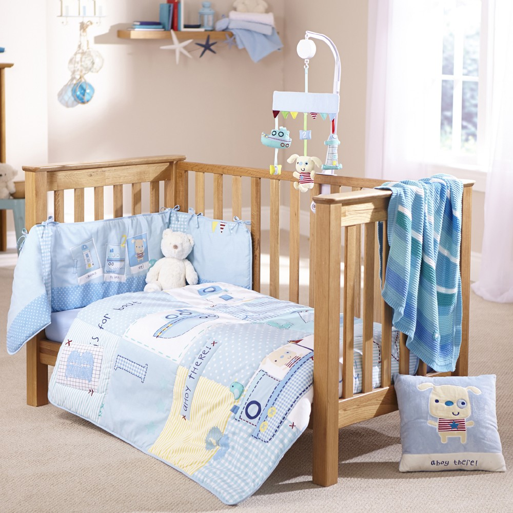 cot bedding sets clair de lune 2pc cot bed bedding set (ahoy) YZQGYPM