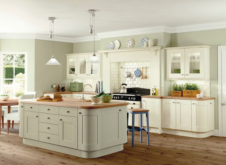 cream kitchens sage walls with mostly cream cabinets but sage island - could look too ITKWOIG