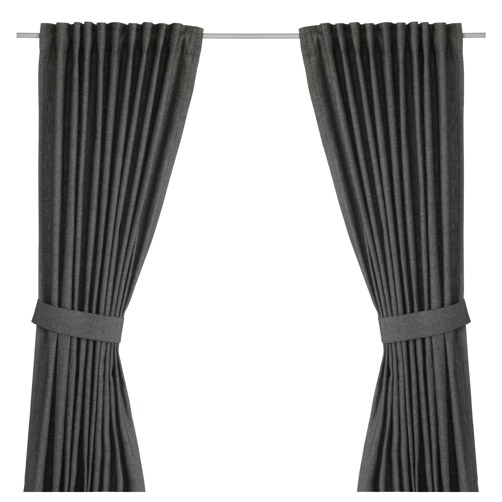 curtain blinds ingert curtains with tie-backs, 1 pair, dark gray length: 98  TESFCLH