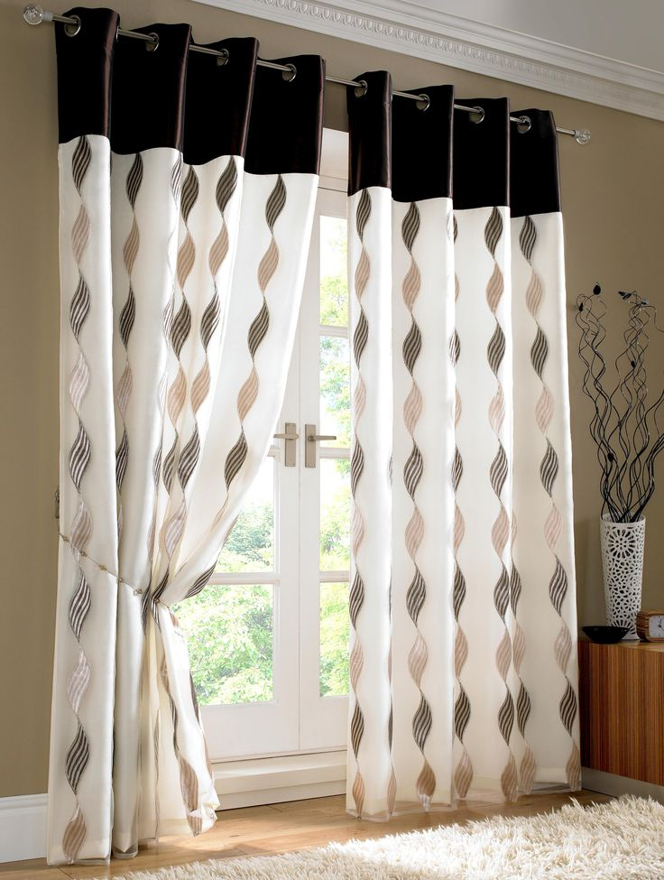curtain designs contemporary white and black theme bedroom curtains with curved shaped  black pattern QGTTWFE