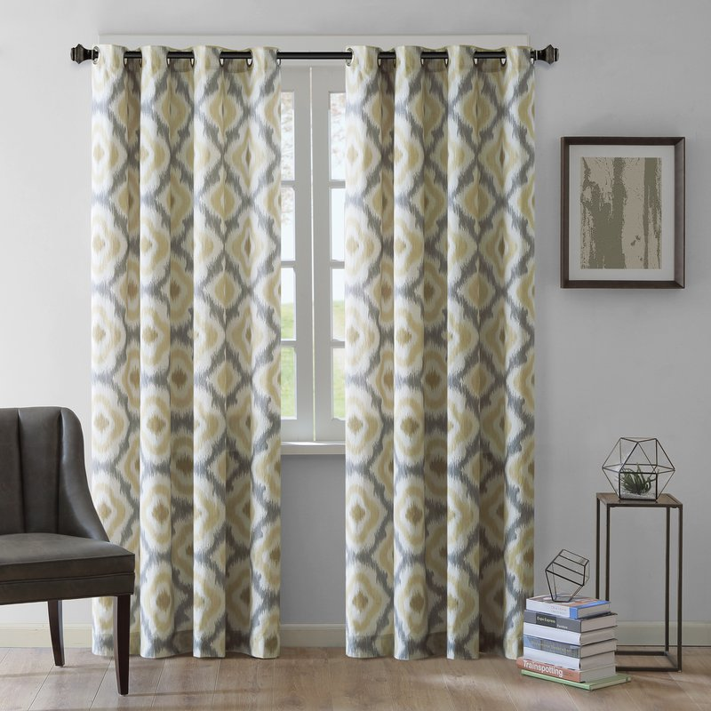 curtain panels ankara ikat semi-sheer single curtain panel ZETQNVY