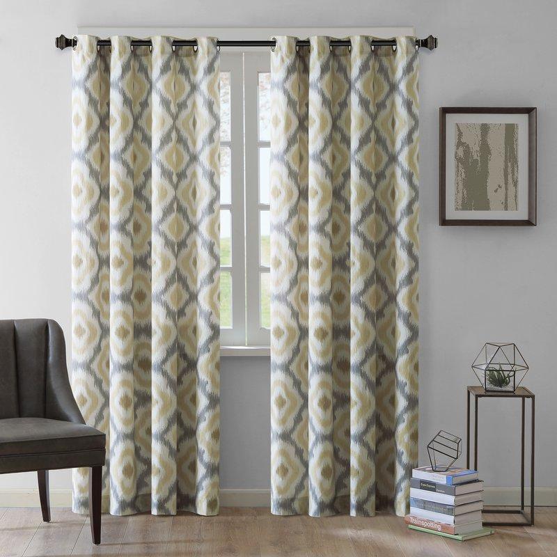 curtain panels ankara ikat semi-sheer single curtain panel ZETQNVY