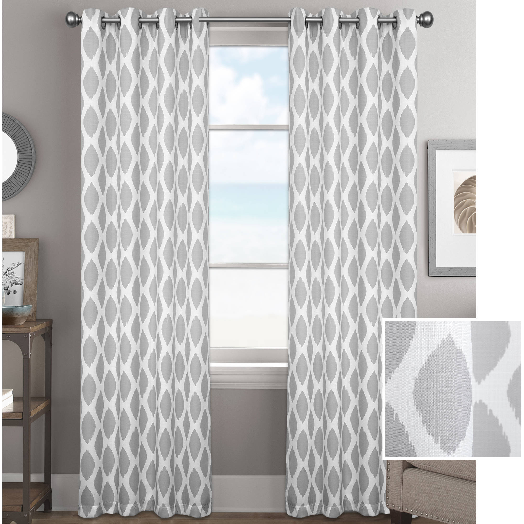 curtain panels better homes and gardens ikat diamonds curtain panel with grommets LPGRYFB
