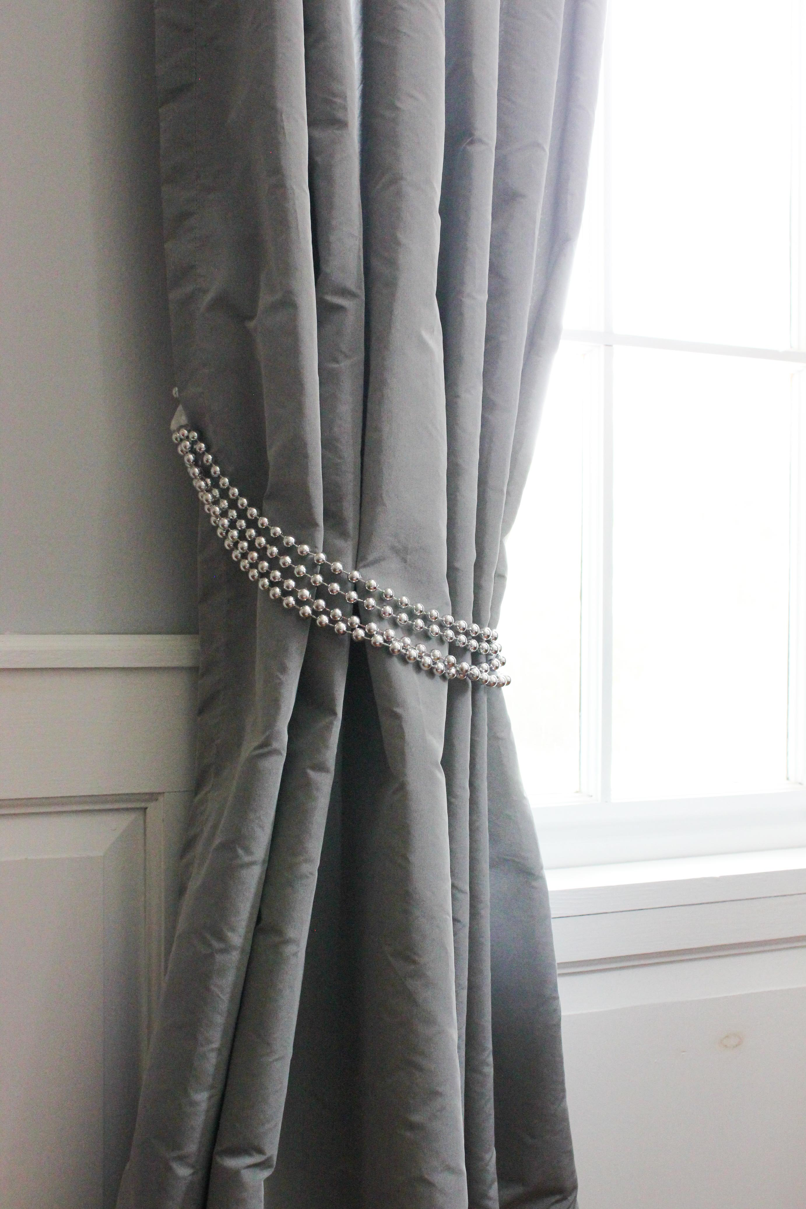 curtain tie backs 1 drapery tie-back silver beads UVSFSJI