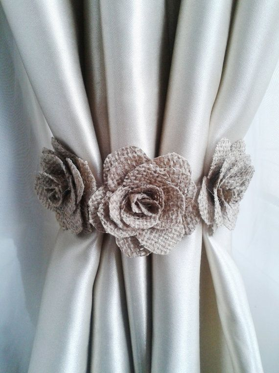 curtain tie flower curtain tie backs,shabby chic curtains, burlap curtain  tie back,baby ONXOCME