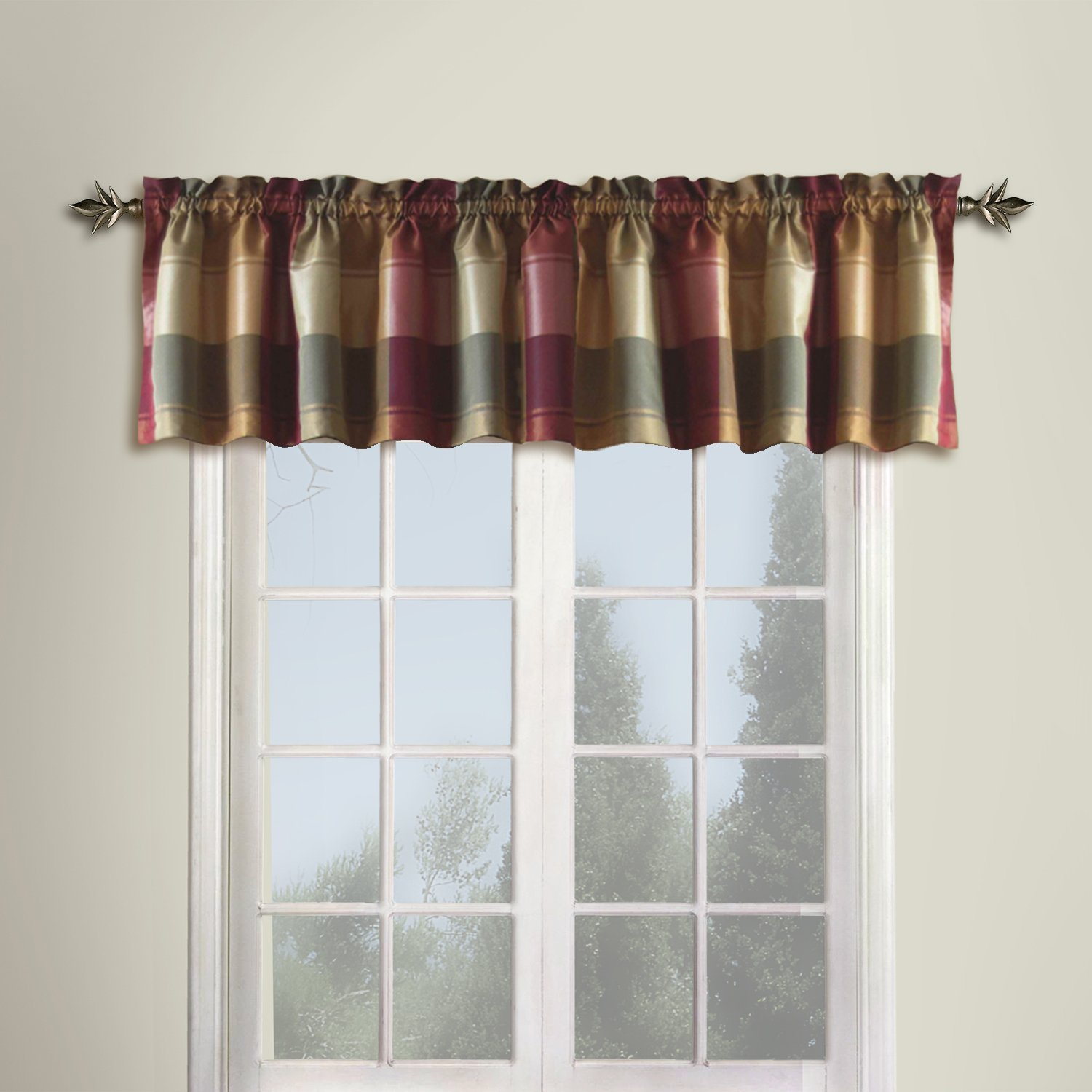 curtains with valance amazon.com: united curtain plaid straight valance, 54 by 18-inch, burgundy:  home u0026 OLAMUJB