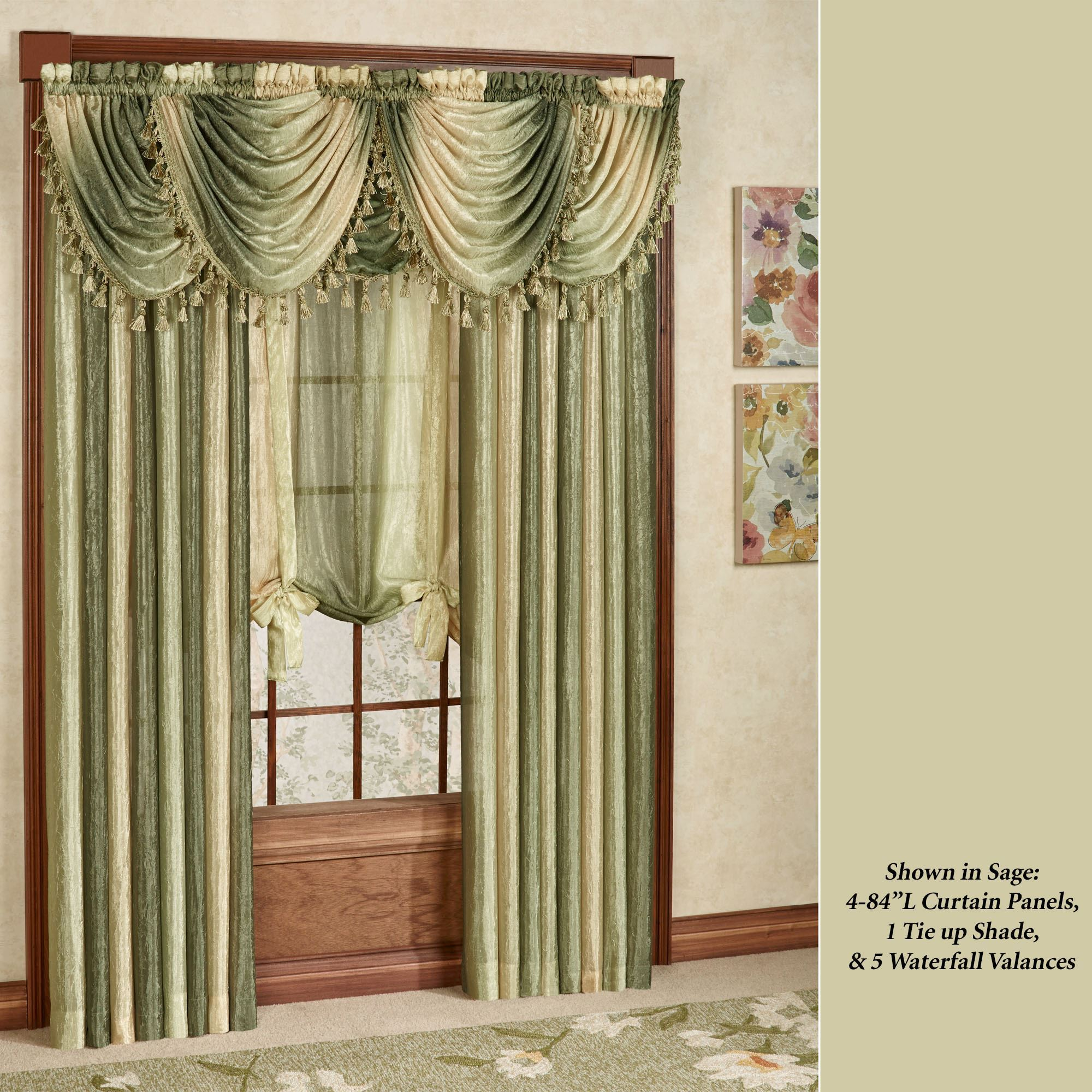 curtains with valance ombre semi-sheer waterfall valances UAHAHDJ