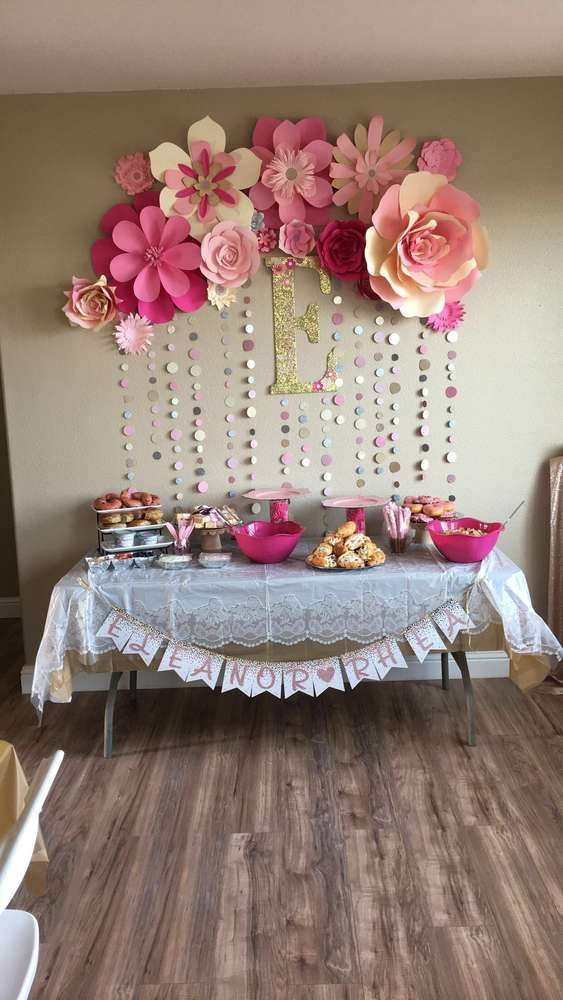 decoration ideas pink and gold baby shower party ideas IXBDGCM