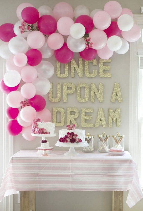 decoration ideas pink themed balloon decoration for birthday party GDDCITW
